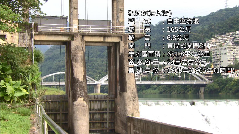 小粗坑電廠>粗坑壩:於 1907 年興建,1989 年為了確保壩體安全,動工修固補強。為自由溢流式混凝土堰,壩基置於礫石層上,壩長 165 公尺,壩高 6.8 公尺,設計洪水量為每秒 9,010 立方 公尺