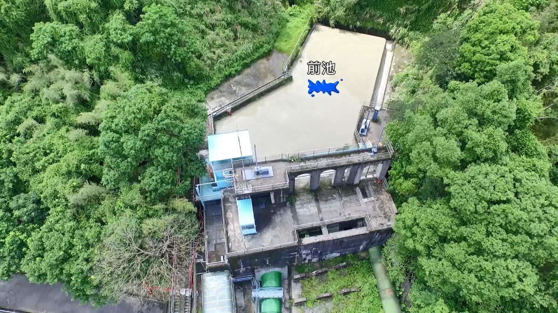 小粗坑電廠:水經粗坑壩取水口再經過小粗坑引水道來到前池
