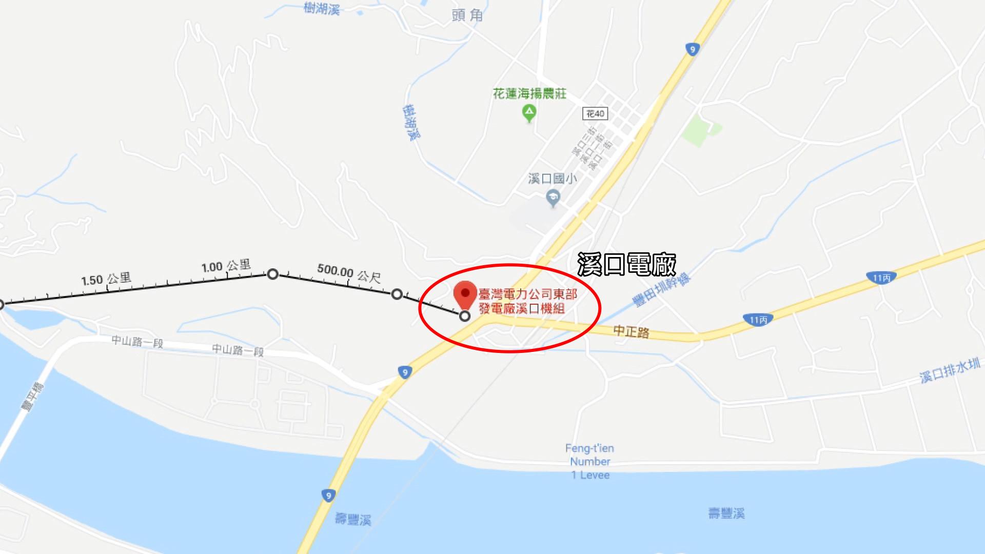 壽豐溪流域溪口電廠位置圖