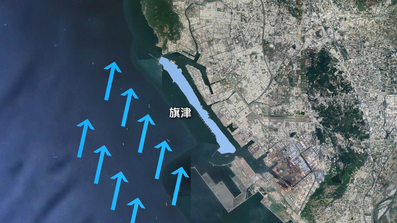 高雄港西側以旗津做為天然屏障阻擋台灣海峽長浪,高雄港之所以能名列世界第三大貨櫃港,此一天然屏障功不可沒。