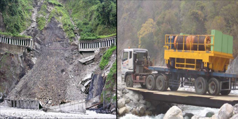 2005年8月5日瑪沙颱風,明隧道坍60M交通中斷 施作河床便道運輸重型機具