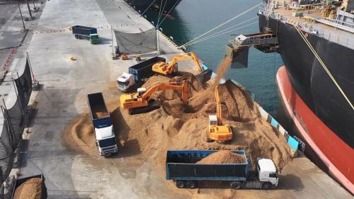 花蓮港也進口木屑,提供給「中華紙漿」,進行紙張的生產。