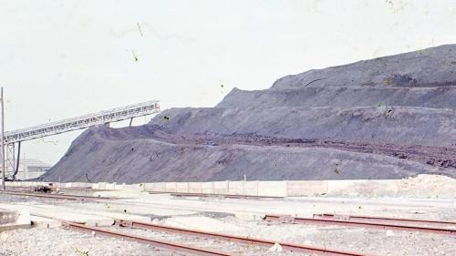 林口電廠昔日的露天儲煤場