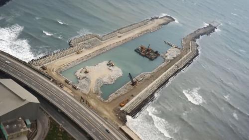 林口電廠擴建工程出水口施工