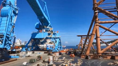 林口電廠擴建工程卸煤碼頭之連續式卸煤機施工中
