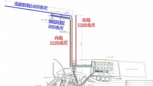 林口電廠卸煤碼頭內堤、外堤長、北防波堤及卸煤碼頭長度標示