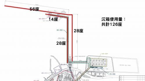 林口電廠建造卸煤碼頭各部份使用的沈箱數量標示