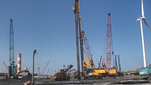 林口電廠筒式煤倉工程的礫石樁工法施工中