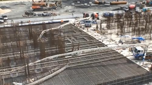 林口電廠興建筒式煤倉的混凝土澆置階段