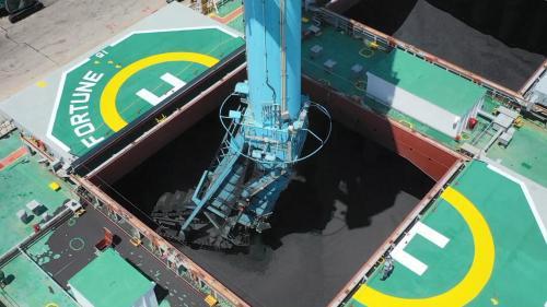 林口電廠卸煤碼頭卸煤機卸煤作業中