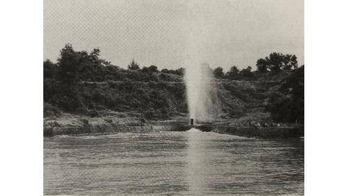 烏山頭水庫>烏山嶺隧道西口天井豎坑引水道出口:即貯水池