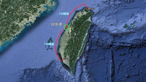 台中港地理位置:台中港是位於台中市的一個國際商港,距離北部基隆港和南部高雄港各約110海浬。