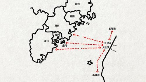 台中港>五汊港成為港埠示意圖:早在清朝康熙末年,來自福建泉州府 安溪、晉江、南安等大陸移民多墾荒於沿海地帶,又經常往返於海峽兩岸,就形成了一個港埠。