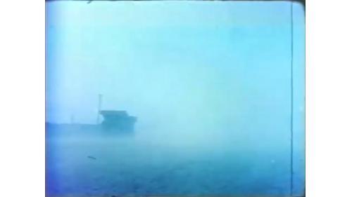 台中港冬季築港作業時的漫天風沙