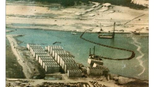 台中港建港沙灘上製造沉箱下水俯瞰