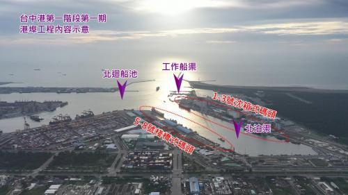 台中港第一階段第一期港埠工程內容示意:完成了1到3號及5至8號碼頭,7座碼頭共約1600公尺長,形成一處迴船池、一處北泊渠與工作船渠供工作船停泊、補給之用。
