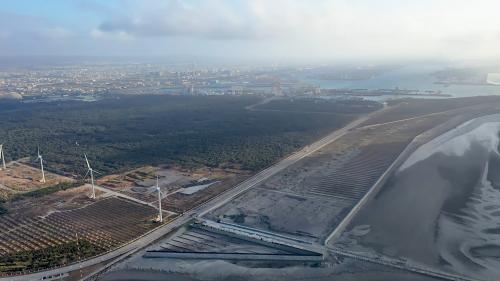 台中港北堤北側造防風林及定沙工程:台中港在冬季時因受季風影響,經常漫天飛沙,嚴重影響建港工程及營運工作甚至造成航道淤積,經港務局策劃,自1975年起配合建港工程,於北堤北側開始進行防風林造林及定沙工作。