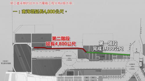 台中港:台中火力電廠工程南海堤延長4,800公尺工程圖