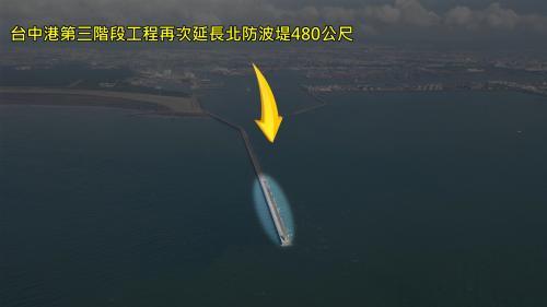 台中港北防波堤:台中港第三階段工程(1995年6月~2006年12月),為了使大型煤輪能夠安全進入港區,再次延長北防波堤480公尺。