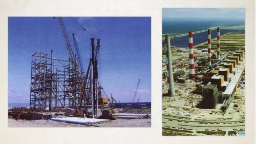 台中港>施工中的台電台中火力電廠:這項工程自1985年三月正式開工,由榮工處自一片沙灘出發,向大海爭地, 1986年六月完成造地,交由業方進行電廠廠房結構施工,到1995年底全部完工