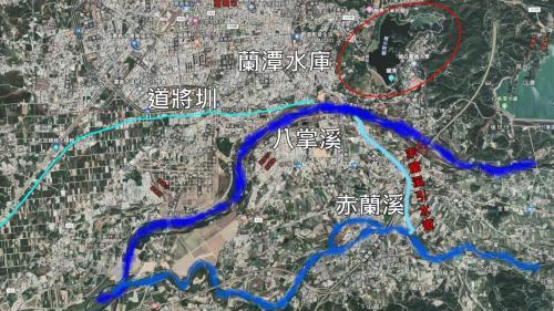 道將圳-赤蘭溪引水至八掌溪彌陀市對岸示意圖:因此另由水上鄉三界埔,將赤蘭溪水引到彌陀禪寺對岸。