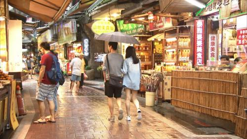 烏來電廠旁的旅遊地標烏來老街