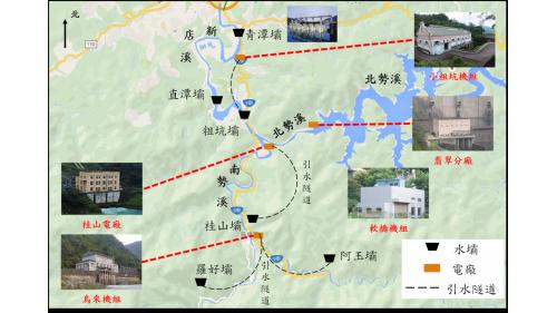 翡翠電廠:新店溪發電廠水路系統圖