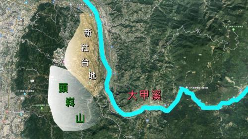 白冷圳流域--頭嵙山和大甲溪合力造成新社河階群示意圖:在大甲溪中游,早期大甲溪曾有多次改道紀錄,加上台灣島陸地不斷抬升,遂與地形陡峻的頭嵙山,造就了共計13階的河階地形,故名之為新社河階群