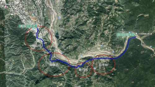 白冷圳自進水口到終點新五村圓堀分水池的行經路線