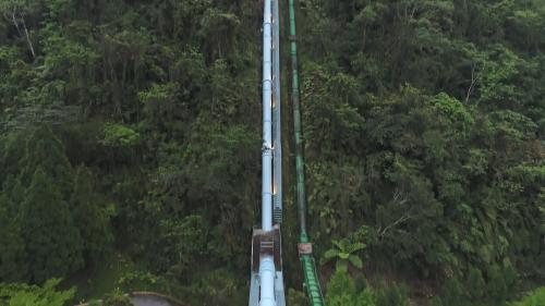 白冷圳抽藤坑的白冷圳2號倒虹吸管(藍色為新管)