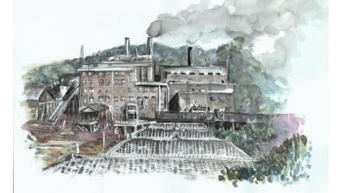 北部火力電廠水彩畫