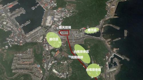 北部火力電廠流籠運送煤炭路線示意圖