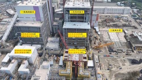 擴建中的林口電廠新林一機、新林二機各設備位置標示