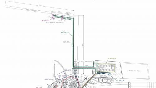 林口電廠擴建計畫中可供煤輪靠港的卸煤碼頭工程圖