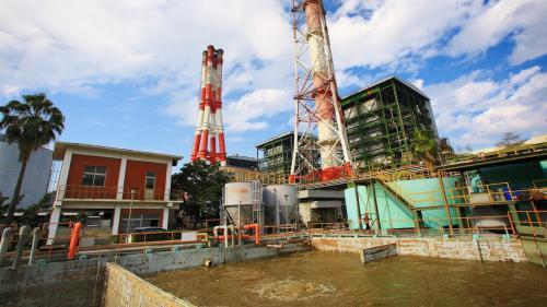 大林電廠早期之廢水處理廠舊照:1977年大林電廠自行設計、施工之廢水處理廠完成
