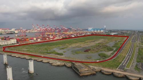 大林電廠昔日儲煤場現址(紅色圏部份)