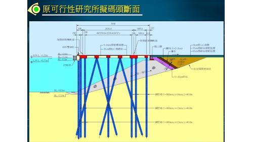 大林電廠卸煤碼頭施工-鋼管樁示意圖:碼頭水面下交互排列著一根根鋼管能分散碼頭重量,又具有極佳的避震性。