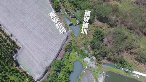 舊寮圳分水閘門上空鳥瞰 大津進水口掌握了高樹鄉3/4的水源命脈,而引進的水流到舊寮新舊兩圳分水閘門,再分水流入農田,灌溉高樹鄉大部分的主要農田達二千公頃