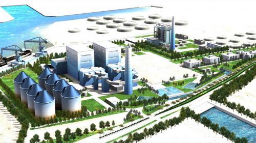 大林電廠更新擴建模擬圖:2007年經建會通過「大林電廠更新改建計畫」,預計利用紅毛港遷村後之部分土地,進行一連串發電設施改建。