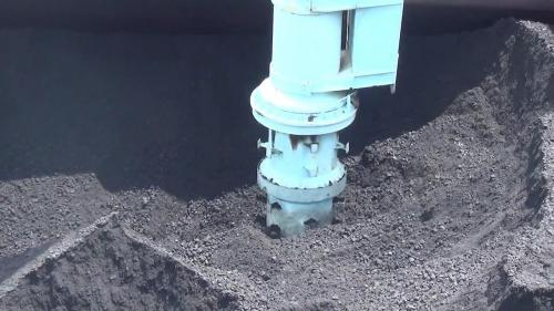 大林電廠運作中的卸煤機