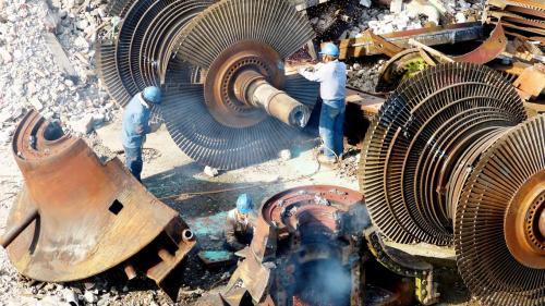 大林電廠拆解中的機組汽輪機低壓轉子