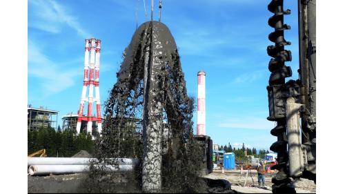 大林電廠植樁時湧出泥漿水之畫面