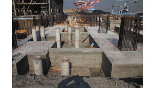 大林電廠新一號發電機組基樁工程之汽輪機區基礎混凝土澆置完成