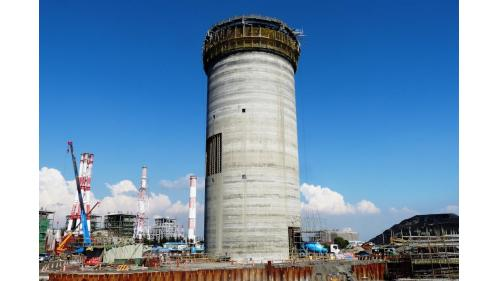 大林電廠以滑模工法建造中之煙囪