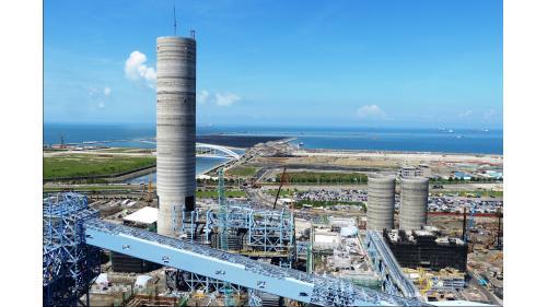 大林電廠完成之煙囪外觀:2014年9月15日煙囪工程全數完成