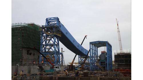 大林電廠運煤系統工程之輸煤廊道組裝