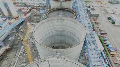 大林電廠建造中之一至四號筒式煤倉