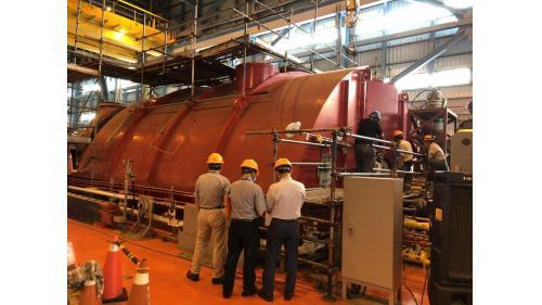 大林電廠機組保固大修之二號機發電機組LPB低壓汽機回裝完成