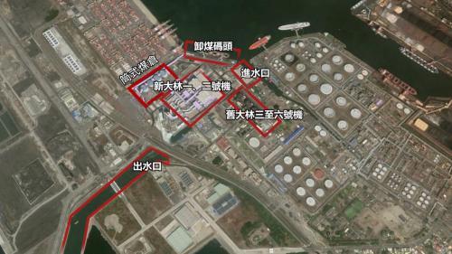 大林電廠廠區更新擴建計畫各項目與舊大林機組之相關位置
