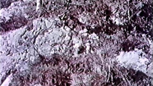 中部橫貫公路興建時榮工攀爬於峭壁上人工開鑿炸藥孔